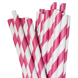 24 Hot Pink Paper Straws Striped Paper Drinking Straws - For your birthday party drink, cake pops, drink strirrers wedding or crafts