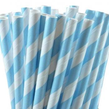 24 Baby Blue Straws Striped Paper Drinking Straws - For your birthday party drink, cake pops, drink strirrers wedding or crafts