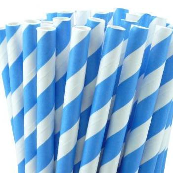 24 Blue Straws Striped Paper Drinking Straws - For your birthday party drink, cake pops, drink strirrers wedding or crafts